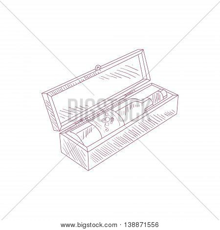 Wine Bottle In Wooden Box Hand Drawn Realistic Detailed Sketch In Beautiful Classy Style On White Background