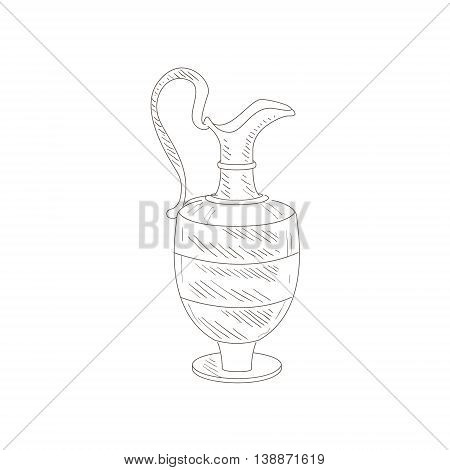 Vintage Wine Jug Hand Drawn Realistic Detailed Sketch In Beautiful Classy Style On White Background