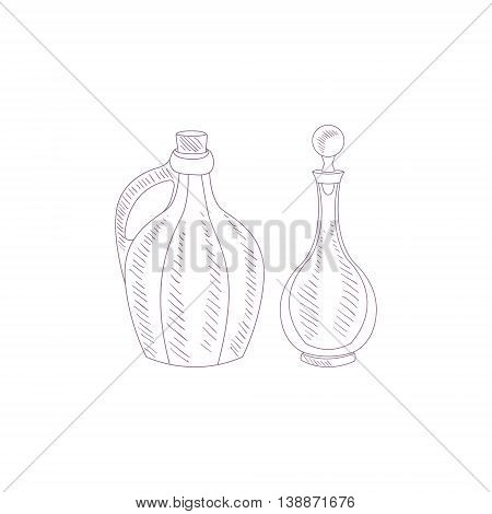 Wine Glass Jug And Pitcher Hand Drawn Reslistic Detailed Sketch In Beautiful Classy Style On White Background