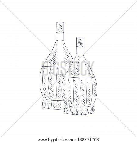 Two Braided Wine Bottles Hand Drawn Realistic Detailed Sketch In Beautiful Classy Style On White Background