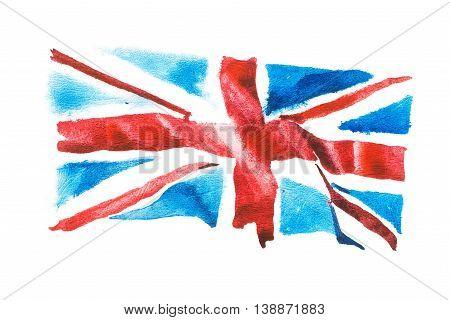British flag. United Kingdom. Watercolour hand drawn illustration