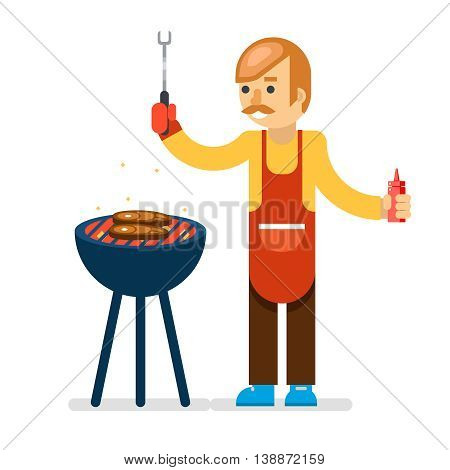 Barbecue man cook grilled meat background vector illustration