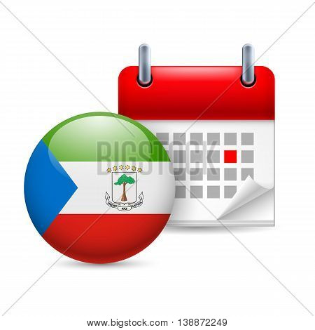 Calendar and round flag icon. National holiday in Equatorial Guinea