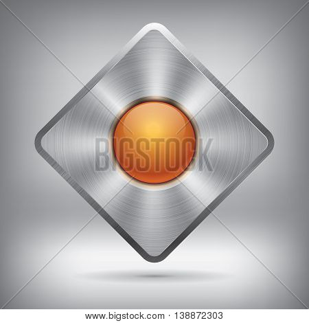 Metal button and glossy ball, vector metallic texture, rhombus element for you project design