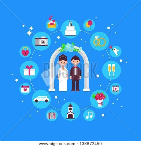 Wedding Concept Design With Flat Icons. Isolated Vector Illustration