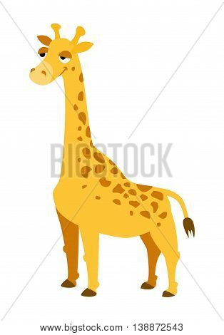 vector illustration funny yellow giraffe on a white background