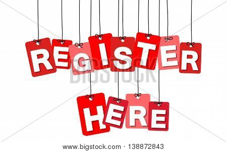 Vector colorful hanging cardboard. Tags - register here on white background