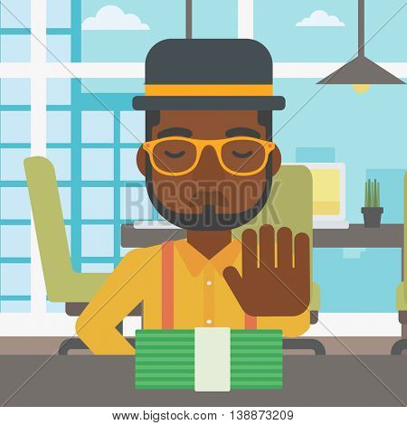 An african-american young businessman sitting at the table in office and moving dollar bills away. Vector flat design illustration. Square layout.
