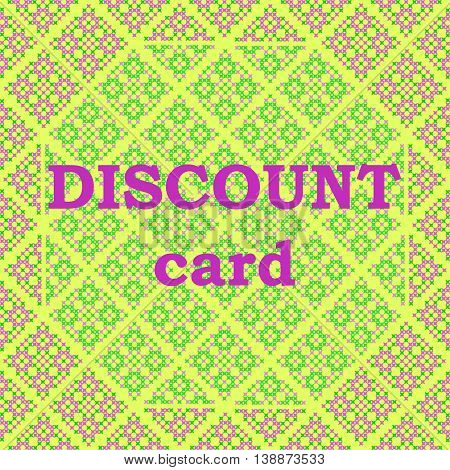 Frame discount card violet green patterns on canvas abstract embroidery