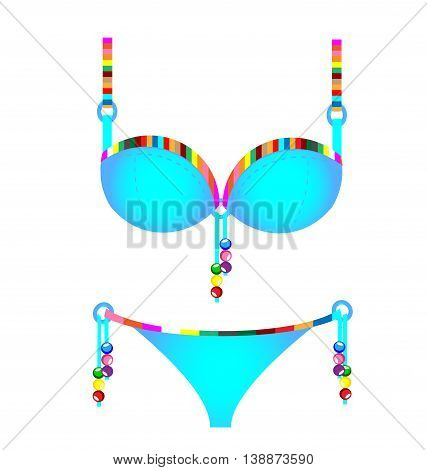 white background and the blue colored swimsuit with beads and lace