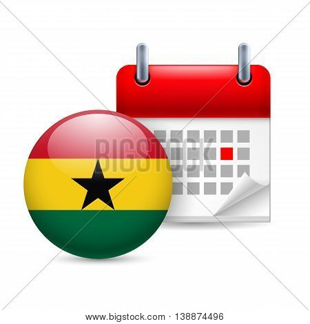 Calendar and round Ghanaian flag icon. National holiday in Ghana