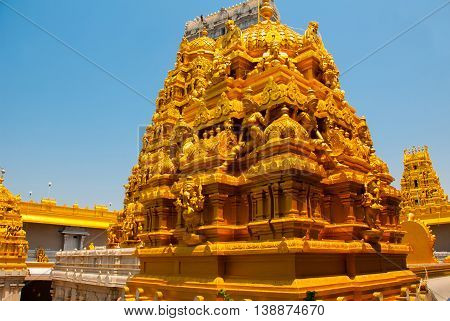 Temple In Karnataka. Fragment Of The Architectural Ensemble. Murudeshwar. India