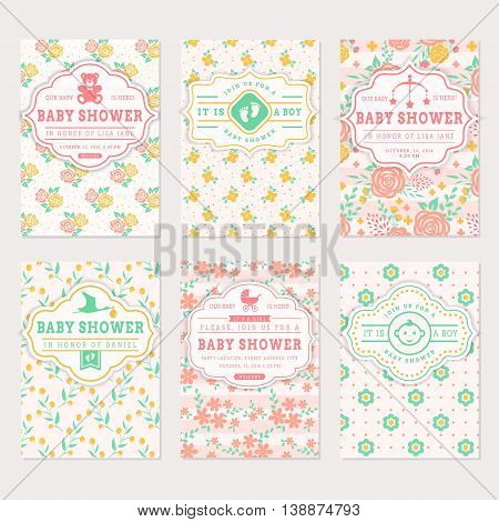 Baby shower set. Cute invitation cards with floral backgrounds. Vector collection in pastel colors.