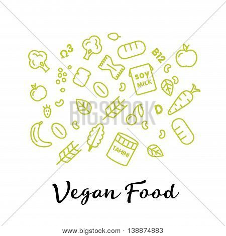 set of the vegan food icons. Vegetables and fruits. Thin line icons. Hand drawn typography
