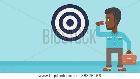 An african-american young businessman with briefcase aiming at a target board. Vector flat design illustration. Horizontal layout.