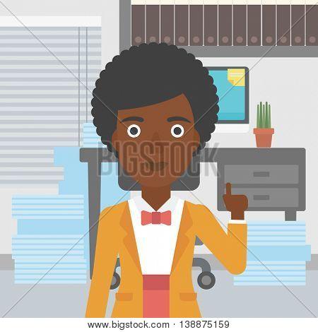 An african-american young business woman standing in the office and pointing up with her forefinger. Business idea concept. Vector flat design illustration. Square layout.