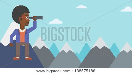 An african-american businessman standing on the top of mountain with spyglass. Businessman looking for success, opportunities. Vector flat design illustration. Horizontal layout.