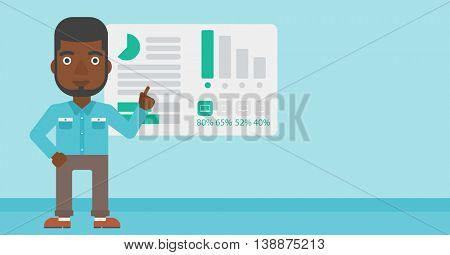 African businessman pointing at charts on a board during business presentation. Man giving business presentation. Business presentation in progress. Vector flat design illustration. Horizontal layout.