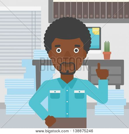An african-american young businessman standing in the office and pointing up with his forefinger. Business idea concept. Vector flat design illustration. Square layout.