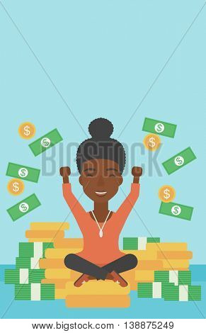 An african-american happy business woman with raised hands sitting on golden coins and money flying around. Successful business concept. Vector flat design illustration. Vertical layout.