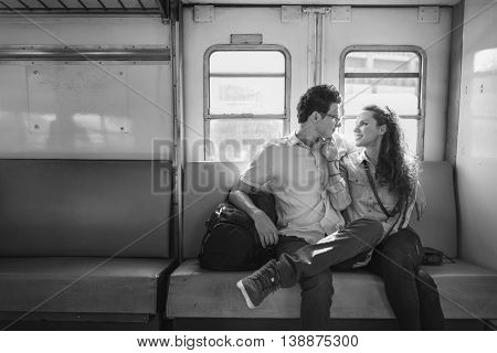 Couple Lover Travel Train Backpacker Concept