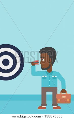 An african-american young businessman with briefcase aiming at a target board. Vector flat design illustration. Vertical layout.