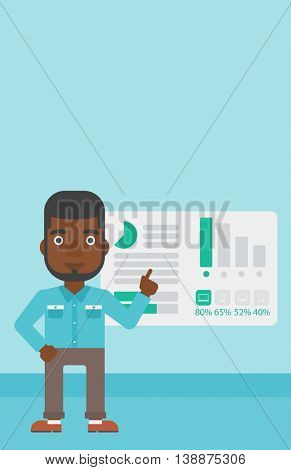 African businessman pointing at charts on a board during business presentation. Man giving business presentation. Business presentation in progress. Vector flat design illustration. Vertical layout.