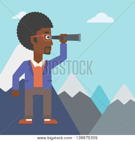 An african-american businessman standing on the top of mountain with spyglass. Businessman looking for success, opportunities. Vector flat design illustration. Square layout.