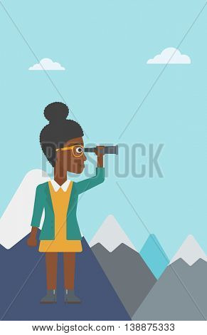 An african-american business woman standing on the top of mountain with spyglass. Business woman looking for business opportunities, success. Vector flat design illustration. Vertical layout.