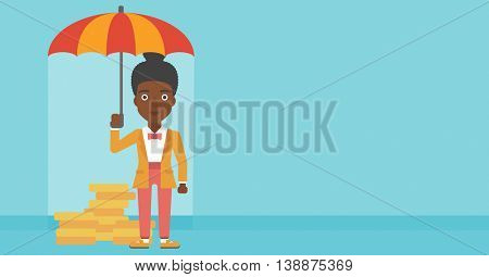 An african-american business woman standing in the rain and holding an umbrella over gold coins. Business insurance concept. Vector flat design illustration. Horizontal layout.