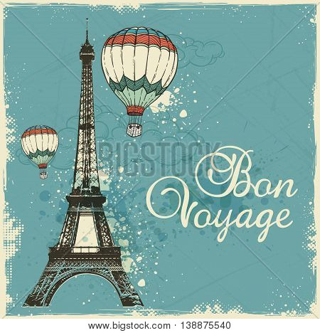 Vintage card with Eiffel Tower and air balloons. Travel background with