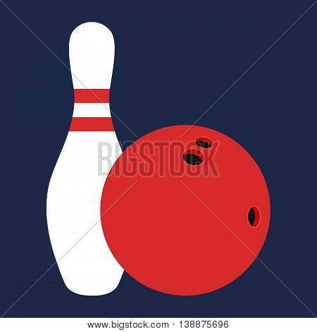 Flat icon white skittle and bowling ball. Vector illustration.