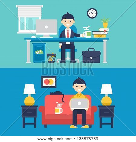 Freelancer At Home And Full-time Employer In Office Concept Design Isolated Vector Illustration