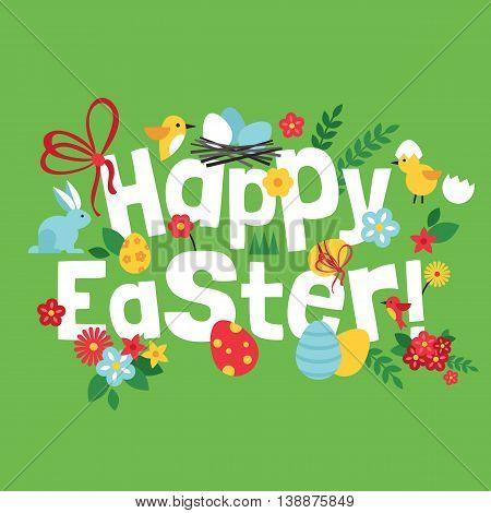 Easter spring holiday lettering design. Vector illustration