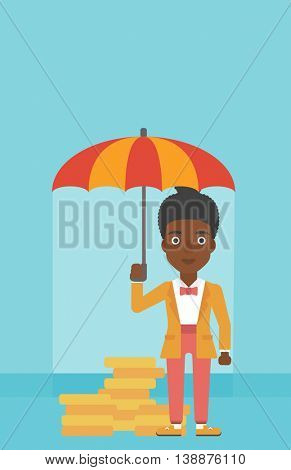 An african-american business woman standing in the rain and holding an umbrella over gold coins. Business insurance concept. Vector flat design illustration. Vertical layout.