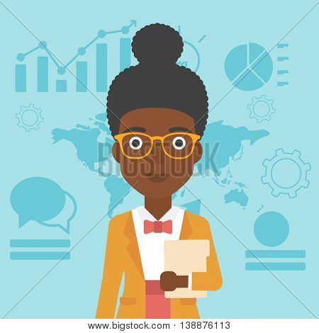 An african-american business woman holding a file in hand while standing with growing chart and a map on a background. Vector flat design illustration. Square layout.