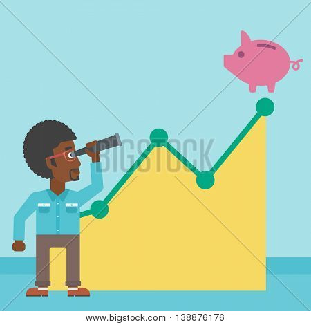 An african-american young businessman looking through spyglass at a piggy bank standing at the top of growth graph. Vector flat design illustration. Square layout.