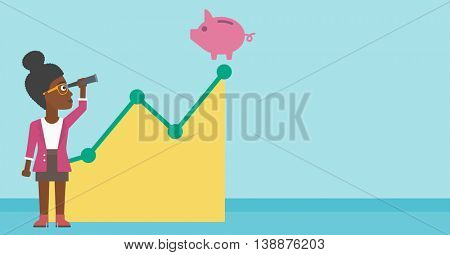 An african-american business woman looking through spyglass at a piggy bank standing at the top of growth graph. Vector flat design illustration. Horizontal layout.