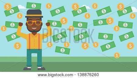 An african-american young businessman with raised hands standing under money rain. Successful business concept. Vector flat design illustration. Horizontal layout.