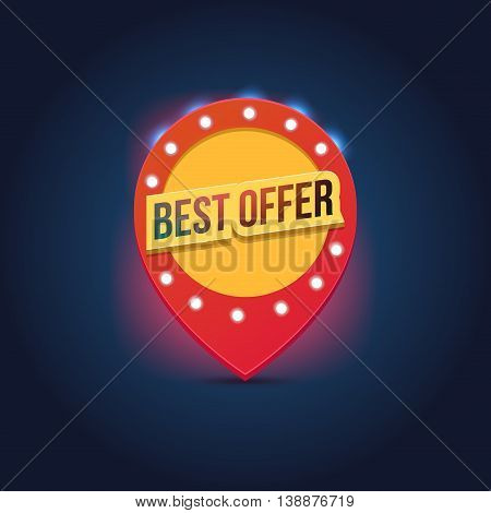 Vector light frame. Retro billboard. Red and yellow advertising sign. Best offer. Sale and discount, business banner