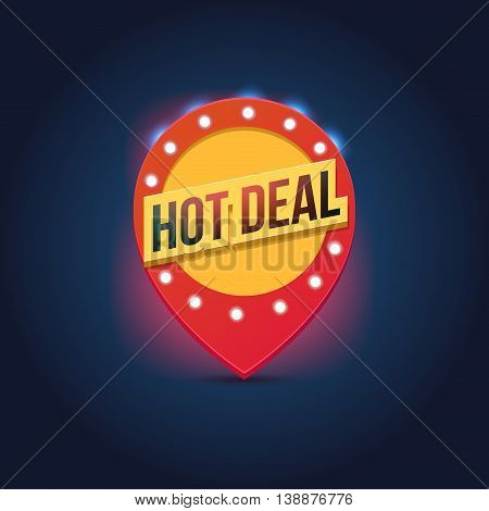 Vector light frame. Retro billboard. Red and yellow advertising sign. Hot deal. Sale and discount, business banner