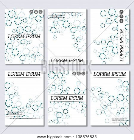 Vector brochure template, flyer, cover magazine in A4 size. Structure molecule of DNA and neurons. Abstract background.