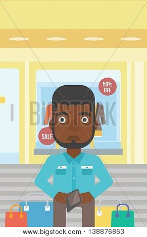 An african-american young man showing his wallet purse on the background of showcase of a store. Vector flat design illustration. Vertical layout.