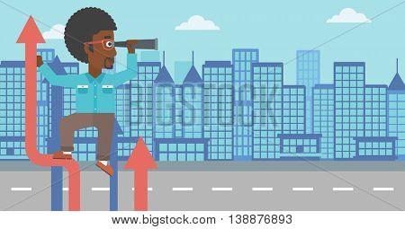 An african-american businessman standing on the top of arrow and looking through spyglass on the background of modern city. Vector flat design illustration. Horizontal layout.