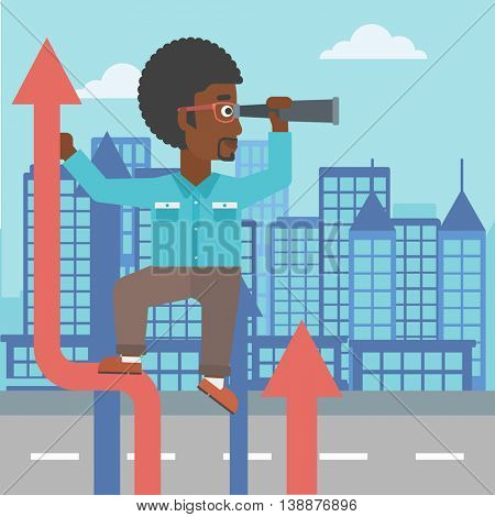 An african-american businessman standing on the top of arrow and looking through spyglass on the background of modern city. Vector flat design illustration. Square layout.