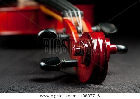 fragment of violin on velvet background