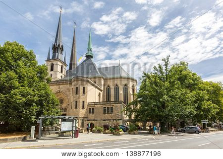 Luxembourg city Cathedral or Grand Duchy of Luxembourg. The historic city center of Luxembourg City, UNESCO World Heritage Site