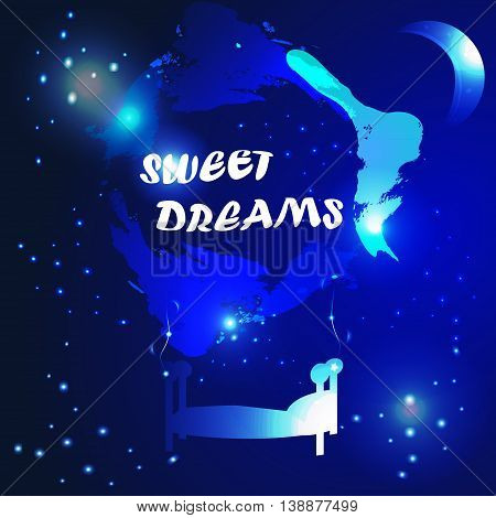 vector illustration of mobile bed hanging on the abstract watercolored clouds in night sky with sweet dreams greeting