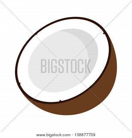 Flat icon coconut. Half of coconut. Vector illustration.