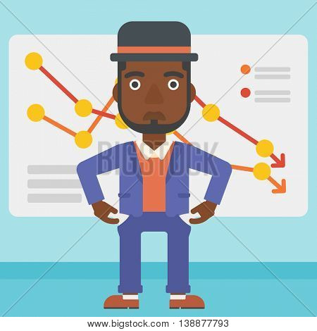 An african-american businessman showing his epmty pockets on the background of board with decreasing chart. Bankruptcy concept. Vector flat design illustration. Square layout.